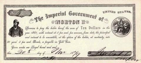 L'énergumène n'oublia pas de créer sa monnaie, laquelle valait cours légal dans San Francisco et s'arrache désormais à prix d'or aux enchères